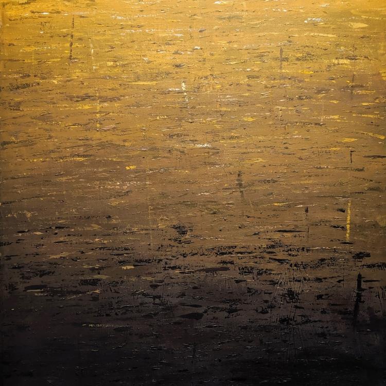 """Desert Sun"", acrylic on canvas, 102 x 76cm, 2019."